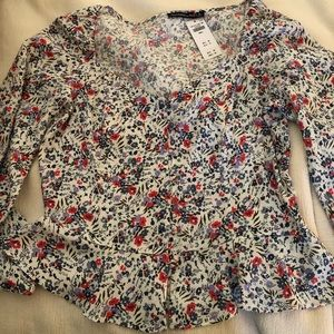 Abercrombie & Fitch Long Sleeve Floral Peplum Top